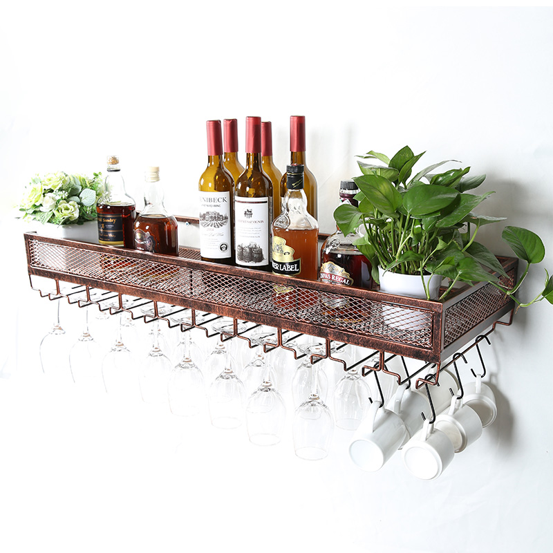 Wine glass rack hanging goblet creative red wine cup holder restaurant iron storage wall  upside down