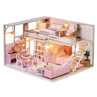 Handmade 3D Miniature Doll House Furniture Doll House Wood DIY Dollhouse Kit Toys for Girls Kids Adult Birthday Christmas Gift