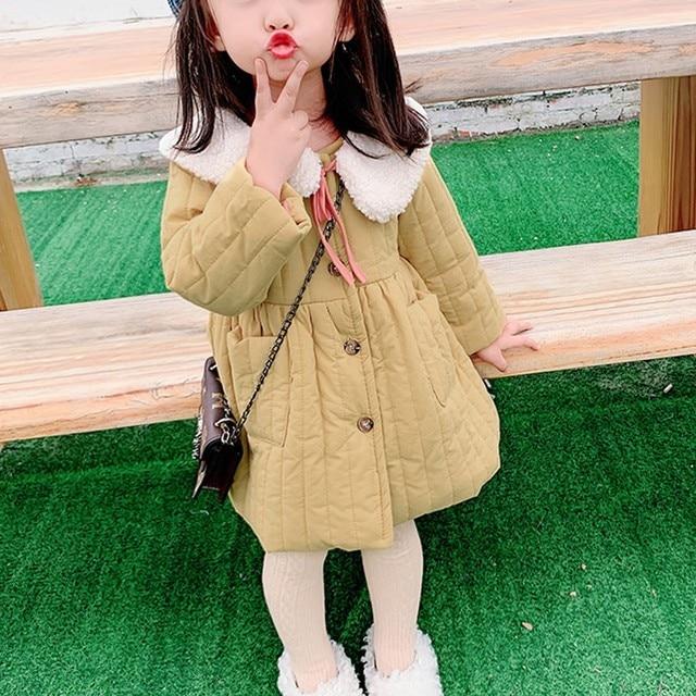 Kids Coat Jacket Toddler Baby Girls Long Sleeves Coat Warm Thick Fleece Jacket Outwear Fashion Girls Autumn Winter Clothes M140#