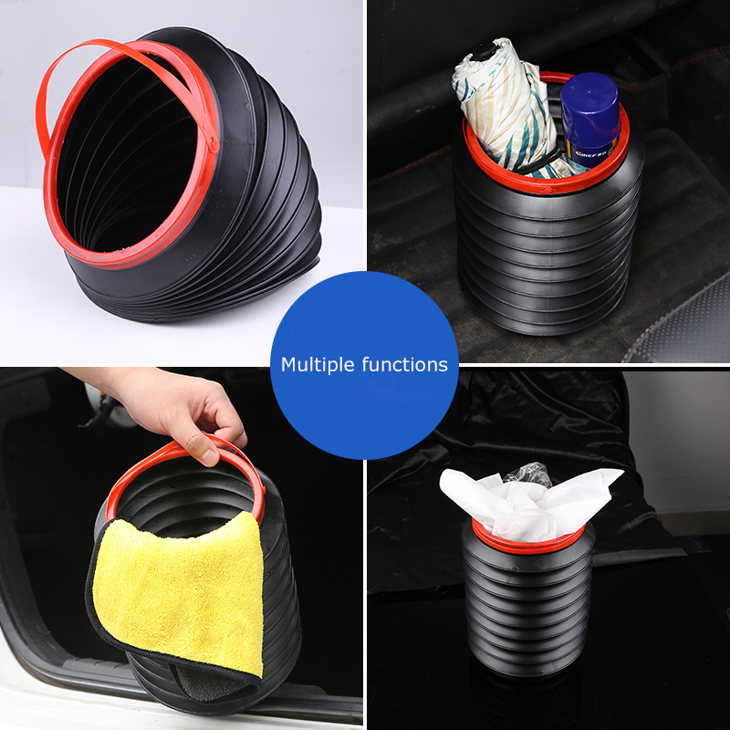 Car Trash Can Garbage Bag Car Interior With Collapsible Telescopic Umbrella Bucket Car Creative Storage Storage Supplies