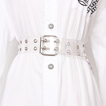 [LFMB]Two Row PVC Clear Belt For Women Fashion Pin Buckle Female White Waist Trousers Transparent Belts Ladies Jeans Grom