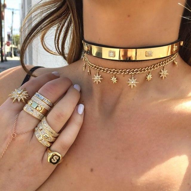 32 + 8 centimetri hip hop bling Gold filled delle donne del choker Miami Cuban link catena con starburst stella di fascino del choker collane
