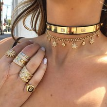 32+8cm hip hop bling Gold filled women choker Miami Cuban link chain with starburst star charm choker necklaces