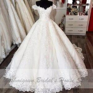Image 3 - Vestido de novia de lujo de Dubái, bordado de encaje, africano, turco, sin hombros, hecho a medida, 2020