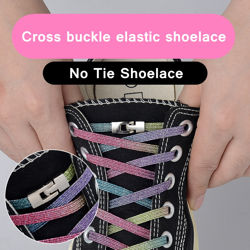 1Pair Elastic Locking Shoelaces Cross Buckle Candy Flats No Tie Shoelace Quick Sneakers Locking Shoe Laces Kids Adult Shoelaces