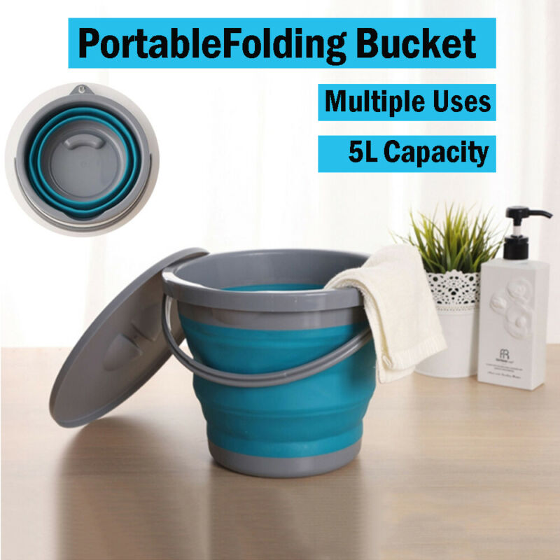 5L Folding Fishing Bucket with Lid Collapsible Silicone Plastic Kitchen Outdoor Camping Garden Portable Water Bucket Car Travel