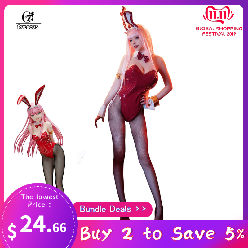 ROLECOS Zero Two Cosplay Bunny Women Costume DARLING In The FRANXX Anime Costume 02 Bunny Girl Jumpsuits Women Sex Jumpsuits