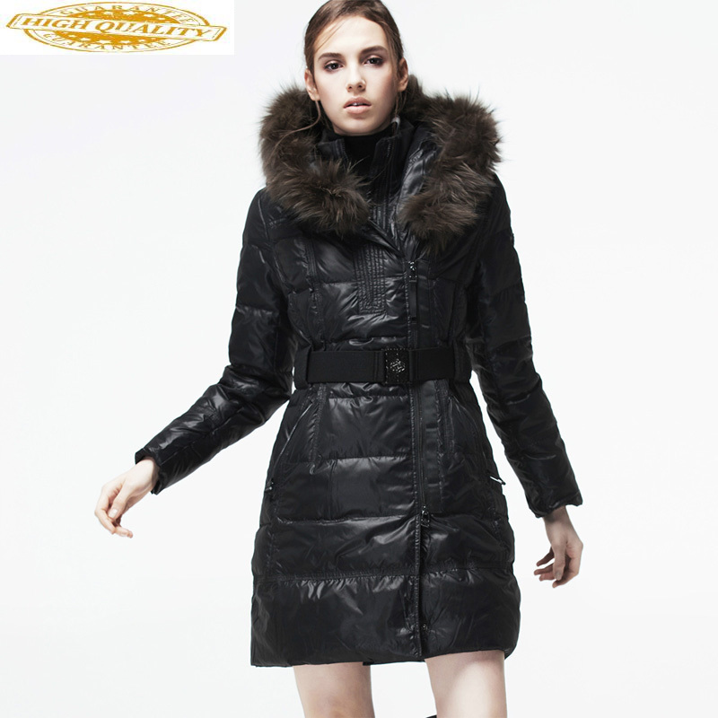 Autumn Winter Jacket Women Fashion Women's Down Jacket Racoon Fur Collar Long Coat Female Double-necked Campera KJ553