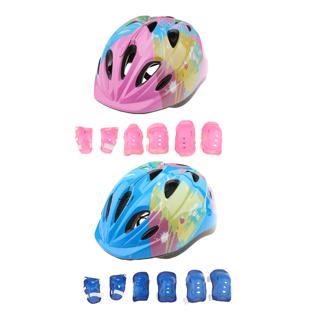 2Sets Kids Roller Skating Skateboard Bike Helmet Knee Elbow Wrist Guard Pad