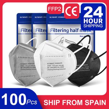 100 sztuk statek z hiszpanii czarne maski szary biały certyfikat zgodności CE FFP2 maska KN95 maska ochronna na twarz ffp2reutilable tanie i dobre opinie SUMMIT PERSON Z Chin Kontynentalnych osobiste jednorazowe Dla osób dorosłych Cotton EN 149-2001 + A1-2009 100pcs