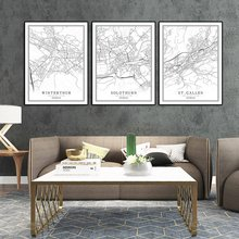 Switzerland Black White World City Map Poster Nordic Living Room Bern Lausanne Biel Wall Art Pictures Home Decor Canvas Painting