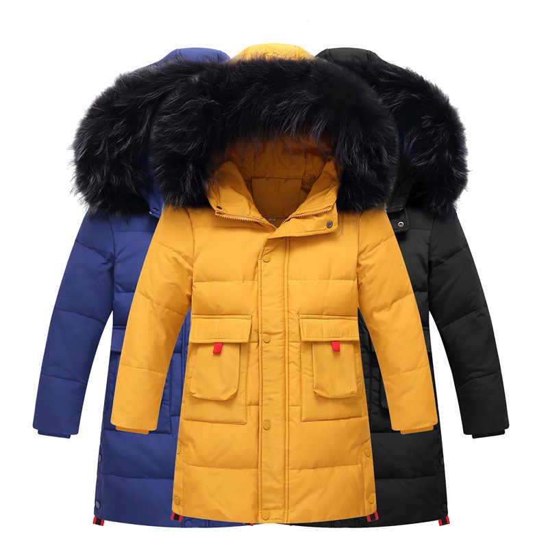 2019 冬の男の子肥厚はジャケット子供の毛皮の襟フード付きダウンコート子供防風ジャケットロシアコールド
