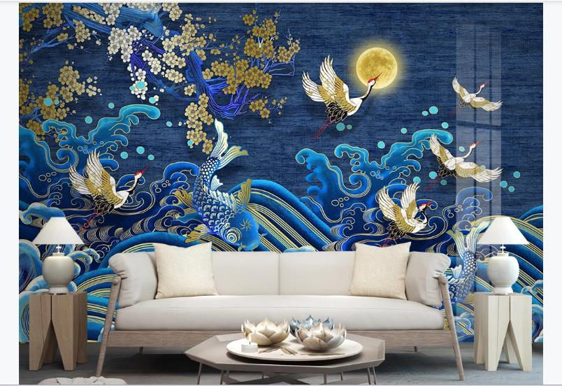 Chinese Luxury Wallpaper Golden Line Crane Wallpapers For Living Room Blue Stereoscopic Silk Wall Mural Home Decor