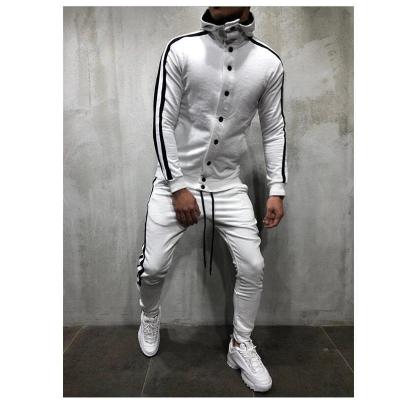 5 Kinds Of Color Sweat Suits Clothing Casual Summer Tracksuits Stand Collars Streetwar Tops Mens Button Sport Suit 2 Piece Men's