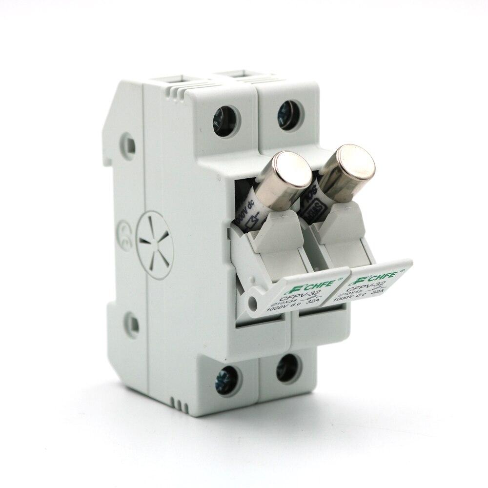 2 unids/lote 5A 10A 15A 20A 30A PV Fusible Solar 1000V CC 10x38mm conector Fusible con portafusibles para la protección del sistema Solar PV