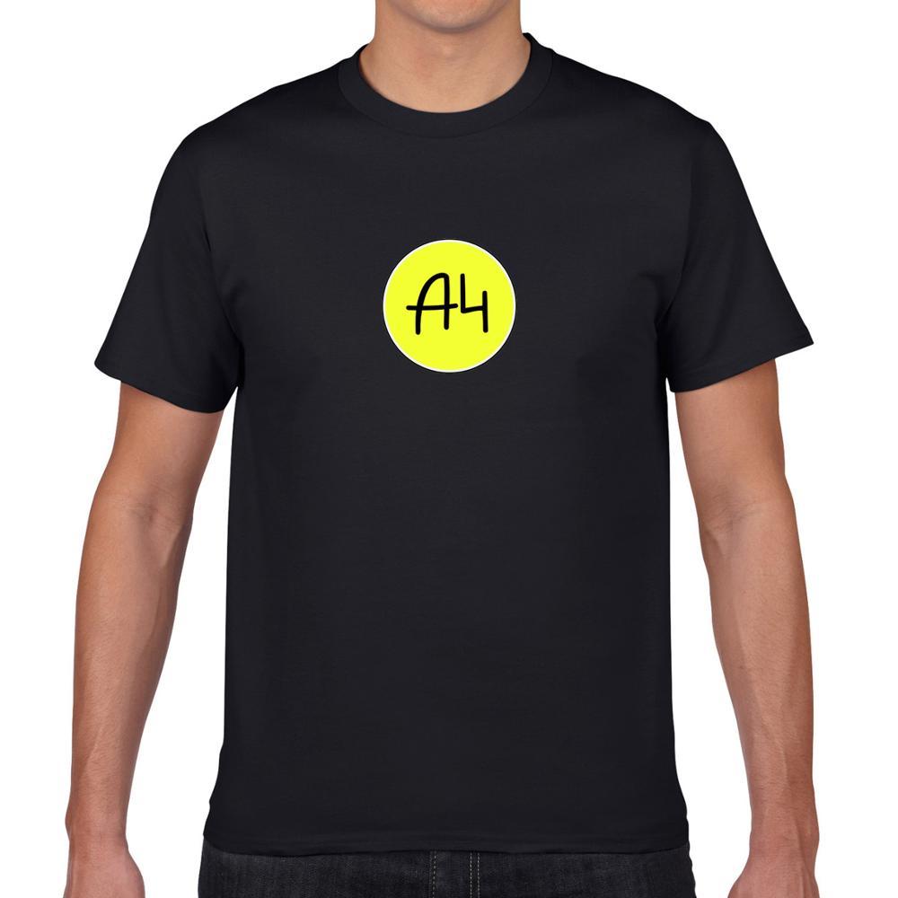 Mens O-neck T Shirts 100% Cotton New Merch Round а4 LOGO Print Casual Men's Tops Men T-shirt Short Sleeve Men мерч A4 Tshirts