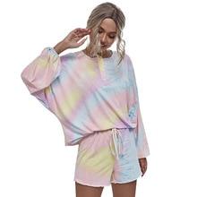 Lybofly Tie Dye Long Sleeve Tee Women Pajama Sets Casual Lounge Women's