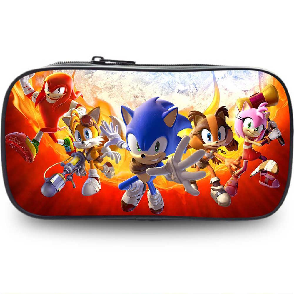 Hot Spiel Design Kinder Bleistift Fall Cartoon Sonic the Hedgehog Muster Studenten Schreibwaren Lagerung Box Kinder der Schule Stift Taschen