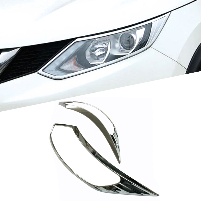 For <font><b>Nissan</b></font> <font><b>Qashqai</b></font> J11 2016 <font><b>2017</b></font> 2018 2019 Front Head Light Lamp Headlight Eyelid Cover Trim Exterior <font><b>Accessories</b></font> ABS image
