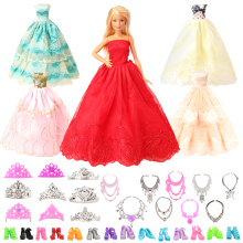 New fashion handmade 27 Items/lot doll accessories= 5 long tail dresses random pick +10 shoes +6 Necklace Crown for barbie