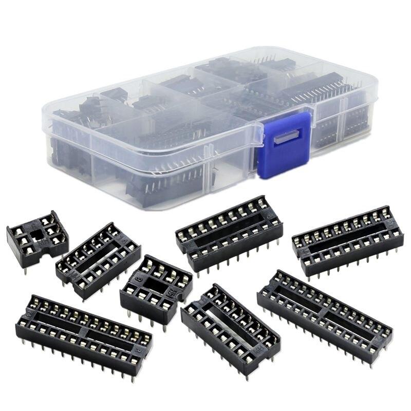 66Pcs/Lot DIP IC Sockets Adaptor Solder Type Socket Kit 6,8,14,16,18,20,24,28 Pin For Arduino PCB Diy Kit