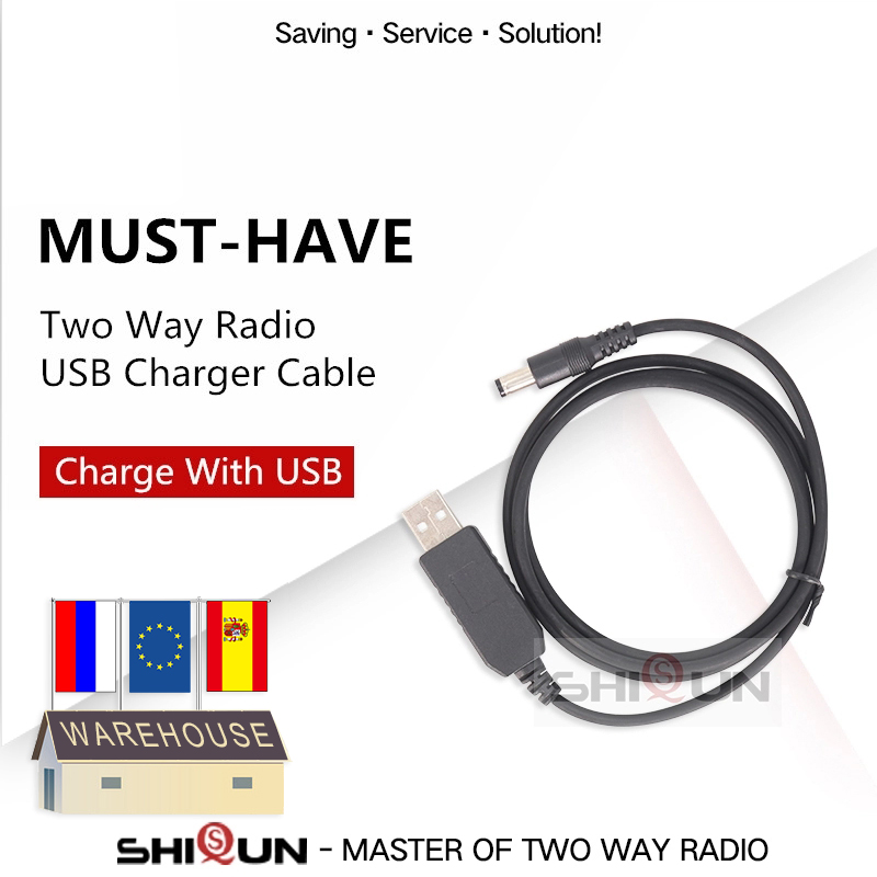Universal USB Charger Cable For BAOFENG UV-9R Plus UV-XR UV-5R UV-82 UV-5RE Radio USB Cable Connect With The Desktop Charger 5R