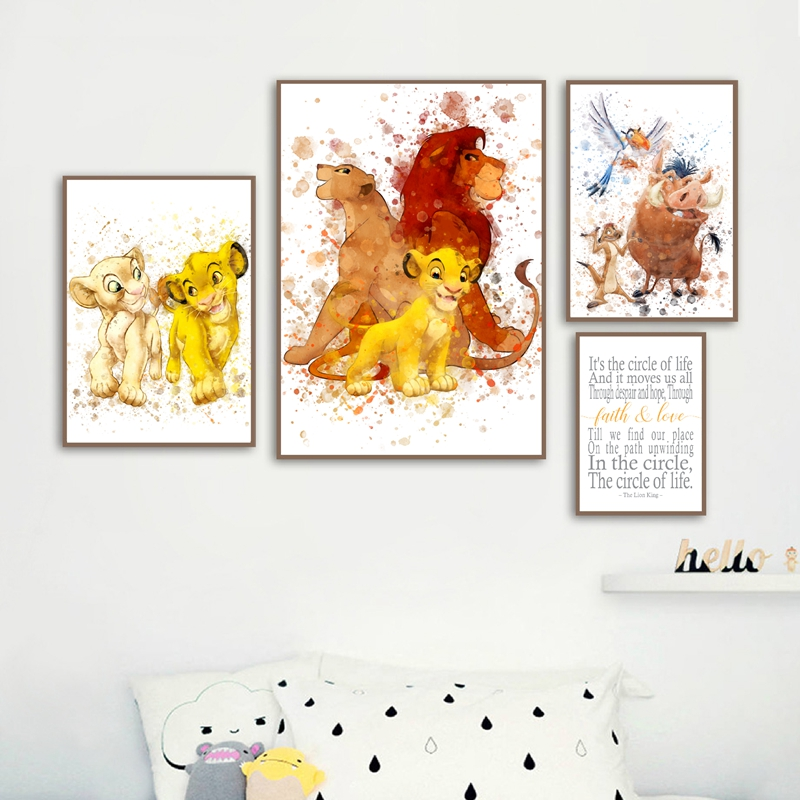The Lion King Nordic Posters And Prints Nursery Wall Decor Mufasa & Sarabi & Circle Of Life Wall Art Pictures Canvas Painting