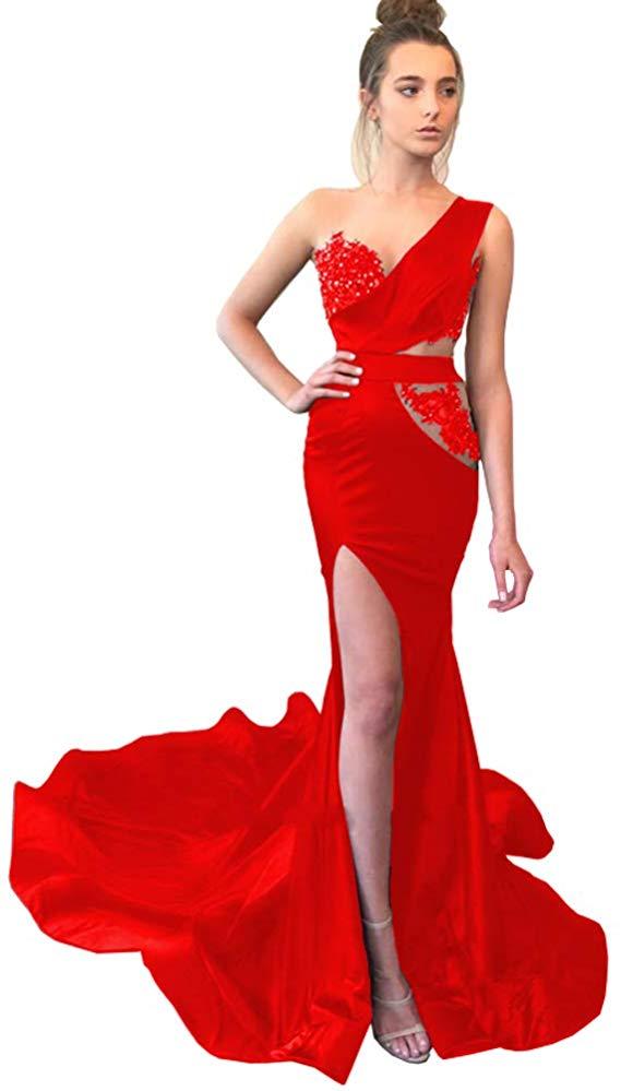 2020 Multi Keuze Vrouwen Een Schouder Lace Side Slit Rood Blauw Bourgondië Lange Avondjurken Mermaid Prom Jassen Met trein - 2