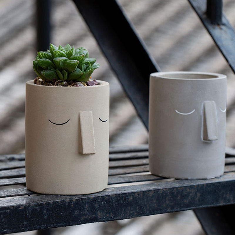 Cement Flowerpot Mold Simple Abstract Face Design Plant Flowerpot Cement Silicone Mold Pen Container Mold Home Furnishing Mould