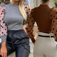 Женская прозрачная блузка с сеткой, новинка, модная, элегантная, тонкая, в горошек, с буфами, с длинным рукавом, рубашка, водолазка, осенняя блузка