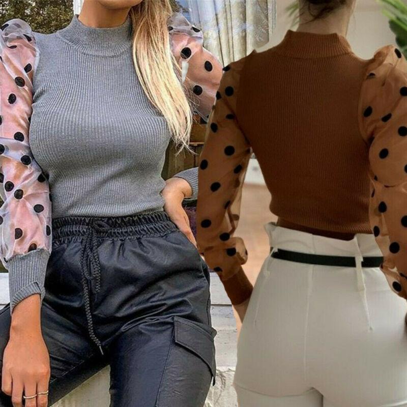 Blusa de punto con manga larga para otoño, camisa transparente con estampado de lunares para mujer, cuello alto, 2019