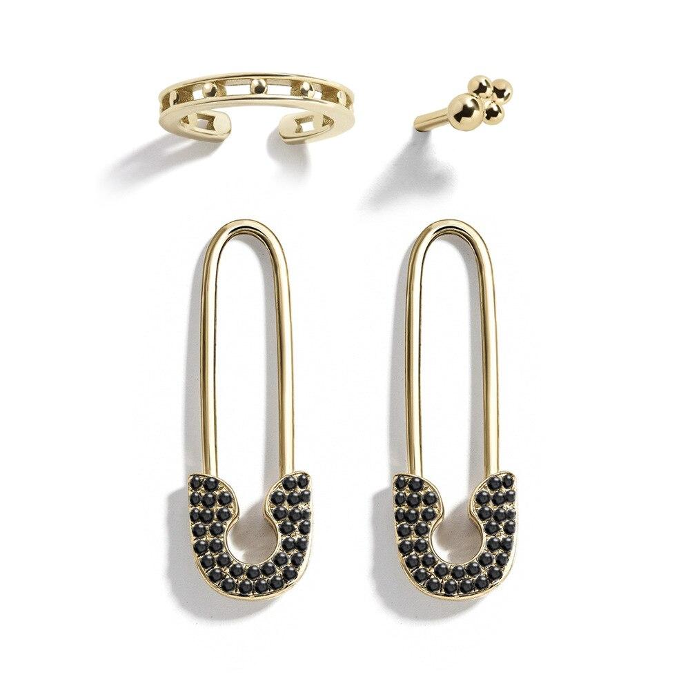 Fashion European American Rhinestone Earring Four Set Women Alloy Clasp Pin Simple Golden Cuff Earrings Clip Jewelry For Girls