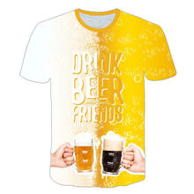2019 Newest 3D Printed Beer time Children T Shirt Casual Short Sleeve kids Funny Cartoon Boy/girl T-shirt(China)