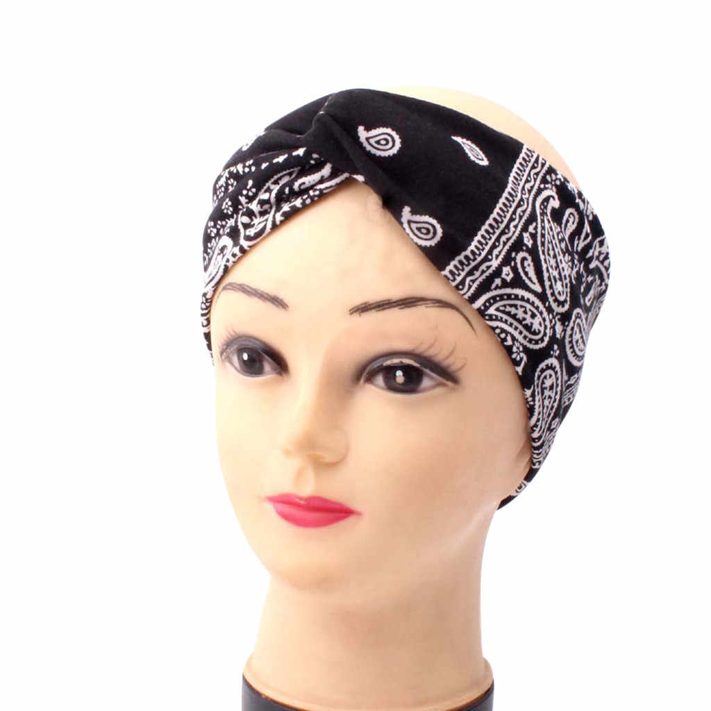 2020 boho Handmade Women Twist Headbands Hair Accessories Acrylic Bandana Scarf Square Female hair band Rock Cool Girls Turban