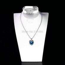 цена на Sky Blue crystal heart shape Alloy and Rhinestone Necklace Pendant Vintage Necklace women's jewelry