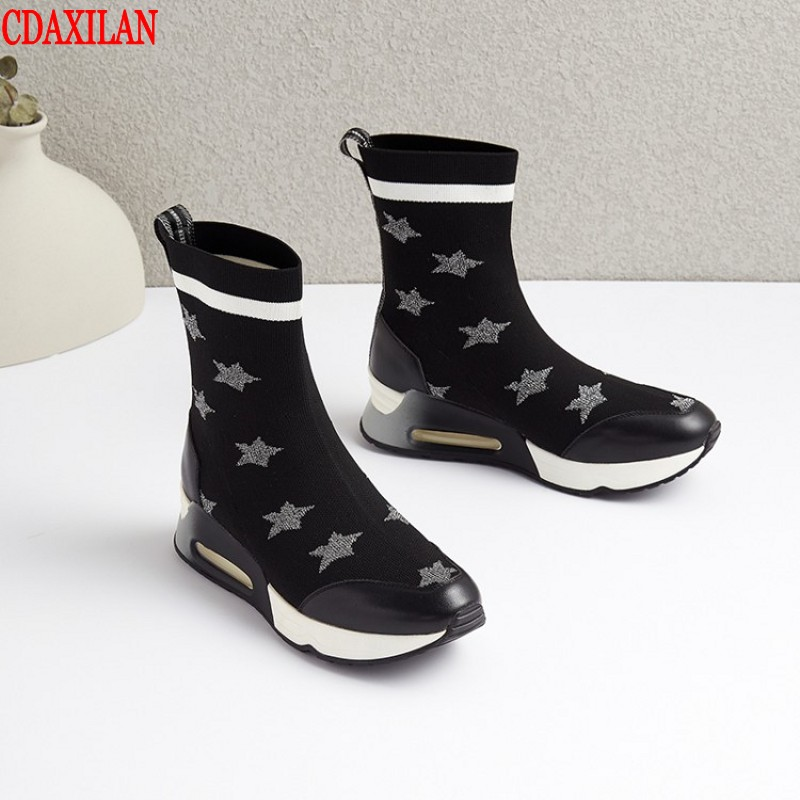 CDAXIALN new arrived womens short boots breathable with elastic made of genuine cow leather knitting Mid-calf