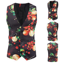 Winter 2020 Mens Snowman Xmas Christmas Fancy Vest Vintage Button Up Party Sleeveless Jacket Dropshipping INS style Net red(China)