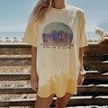 Gelb landschaft Print Graphic T Shirts Frauen Casual Mode Kleidung Sommer Übergroßen Tees Streetwear Lose Kurzarm T-shirts