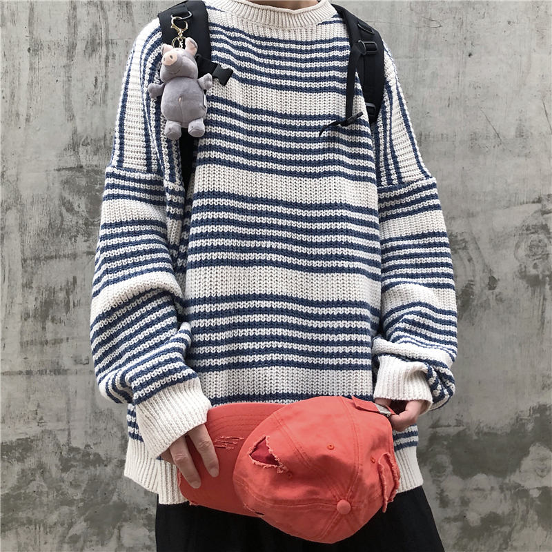 Autumn New Striped Sweater Men's Fashion Contrast Color Casual Knit Sweater Man Streetwear Wild Loose Long-sleeved Pullover Men