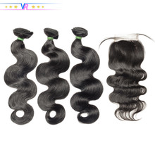 100% Virgin Hair Body Wave Bundles With Closure Peruvian Hair Sew In Human Hair Extension