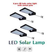 2/4pcs 48 LEDs Solar light PIR Motion Sensor Solar Power night lamp LED Garden Light Outdoor Security Solar Wall Lamp Waterproof