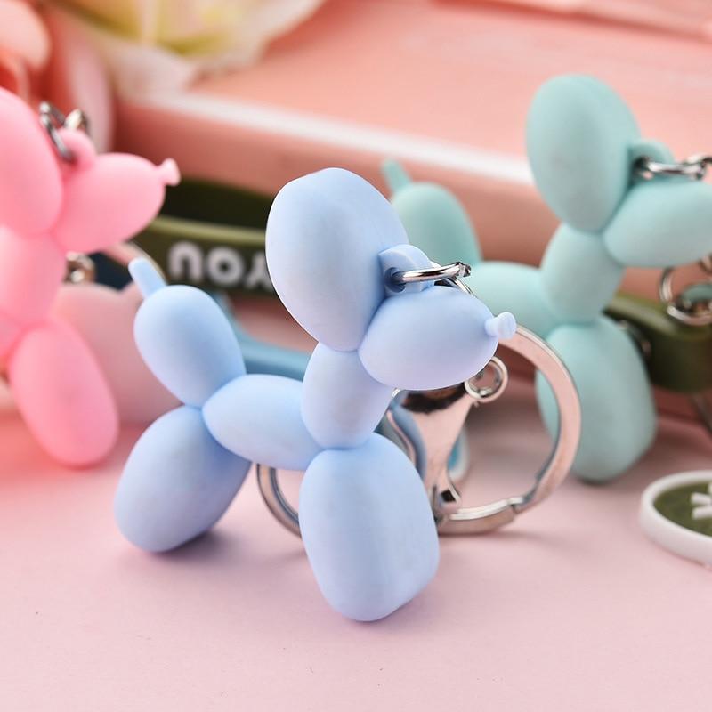 Woman Fashion Keychain Cute Animal Balloon Dog Key Chain Ring Couple Creative Cartoon Mobile Phone Bag Car Pendant Fun Llavero