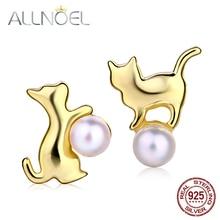 ALLNOEL 925 Sterling Silver Earrings For Women Natural Freshwater Pearl Earrings Cute Cat 9K Gold Engagement Fine Jewelry New