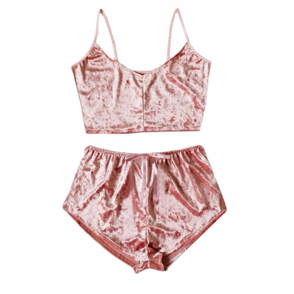 Phụ Nữ Mới Đồ Ngủ Pijama Bộ Quần Lót Nhung Yếm Nơ Quần Short Nữ Bộ Đồ Ngủ Phù Hợp Với Plus Kích Thước Đồ Lót Áo Ngực 2 bộ