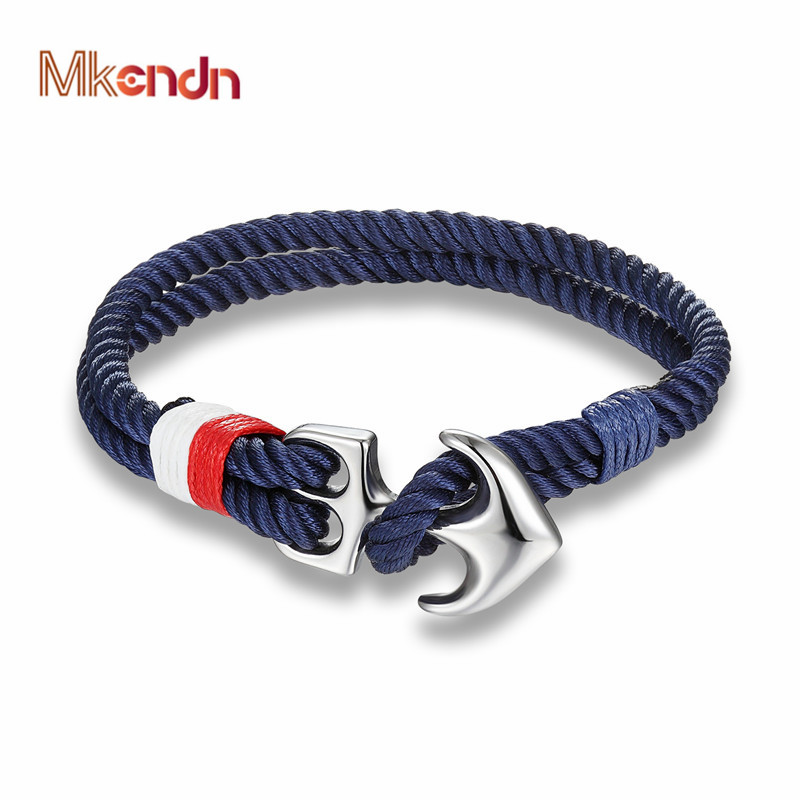 Stainless Steel Anchor Bracelet Rope Paracord Wrap Around Cord Nautical Gold-Tone Red Blue White