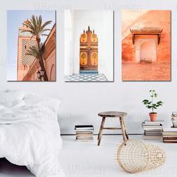 Arap ev dekorasyon tuval boyama marakeş cami Nordic Poster ve baskı fas kapı duvar resmi oturma odası yatak odası için