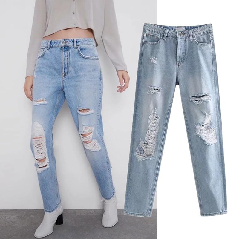 vintage high street straight jeans woman waist hole ripped for women regular boyfriend
