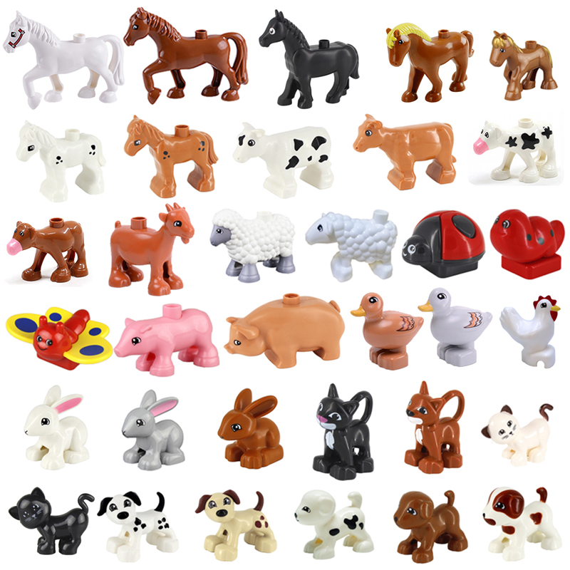 Farm Animals Building Blocks Parts Compatible With Duplo Pets Poultry Animal Series Model Toy Horse Dog Goat Sheep Cow Blocks