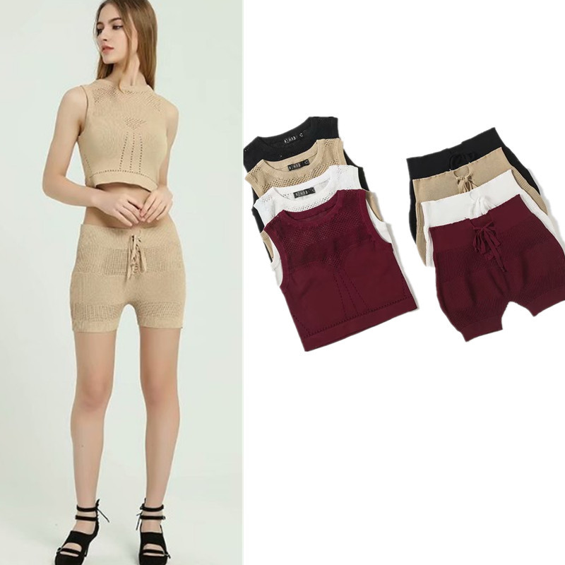 2018 Europe And America New Style Seaside Two-Piece Set Holiday Shorts Knitting Suit Hollow Out Mesh Short Vest J8190