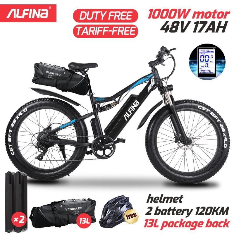 ALFINA FX-03plus 1000W 80KM electric mountain bike SnowBike 48V 17Ah 26 Inch Tires ebike electric bicycle Ebike Lithium Battery
